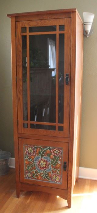 "#2.  $125.00.  Oak cabinet with painted bottom 73""h X 24.5w X 22.5""d"