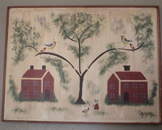 "#3.  $50.00. Farm/ naïve style print on board  30"" X 39.5"""