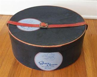 "#6. $25.00. Grace Downs flight school hat box 1950s 6"" X 15.5"" diameter"