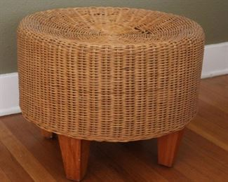 """#5 . $60.00. Wicker stool small wear to top see pictures 15""""h X 20"""" diameter"""