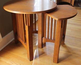 "#7. $125.00.  Oak nesting table largest 24""h x 24""diameter"