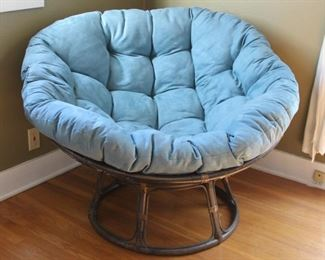 """#9.  $75.00.   Wicker papazan with cushion one spot on cushion see pictures 28"""" X 45""""diameter"""