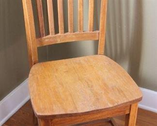 "#11.  25.00. Oak side chair with cushion 39""h  X 17""w X 20""d"
