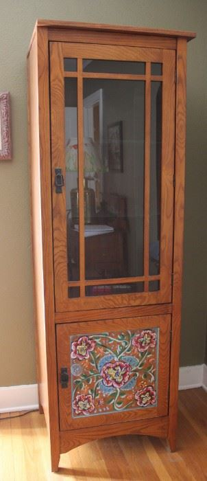 "#13.  $125.00. Oak cabinet with painted bottom 73""h  X 24.5""w X 22""d"