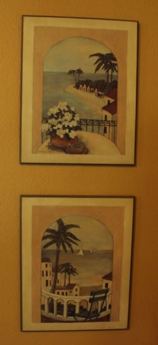 "#21.  30.00.  Pair prints on board ocean views  20"" X 16"""
