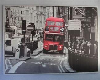 "#24.  30.00. Ikea canvas photo print Double bus 39"" X 55"""
