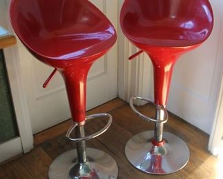 "#26.  $150.00 Pair red bar stools some wear to backs 38""h X 17.5"