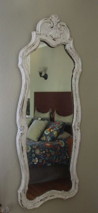 """#28 .  $60.00. White painted framed mirror 50"""" X 19"""""""
