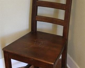 """#30.  $30.00.  Ladder back  Side chair dark stained pine 41""""h X 17""""w X 18""""d"""