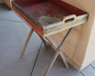 """#47.  $25.00. Tray with folding base pretty worn from elements outside 29""""h  X23""""w X 17""""d"""
