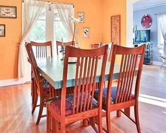 """#20.  $600.00.  Mission oak style table with 6 chairs including 2 captian/ painted top Table 30""""h X 82"""" with leaf in 64""""without leaf in X 42"""" / chairs 42.5""""h X 24""""w   Additional views of the chairs and the base a few pictures away."""