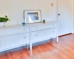 "#39.  $75.00.  Painted white dresser glass knobs 27""h X 69.5""w  X 18""d"