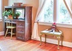 "#41.  $75.00. Painted PJ Kids computer desk 49""h X 42""w X 17.5""d   #42.  $40.00. Green painted side chair 33""h  X 15.5""w X 19""d  #43.  $60.00.  Painted bench  17""h X 23""w X 16""d"