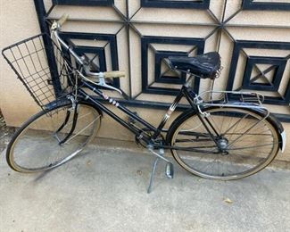 #103 $75.00 fun 1960s bicycle with basket rides nice.