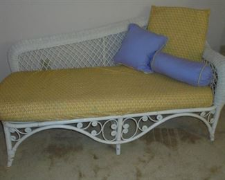 White wicker chaise lounge