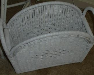 Matching white wicker magazine holder
