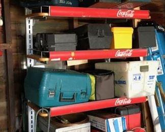 Racks-Tool boxes, power tools including Makita and Bosch, Coca-Cola racks, et