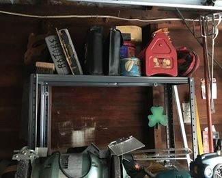 Estate garage tools discovery lot includes power and hand tools, vintage child's tool box, drills, lights, hand cuffs, desk and contents, etc.