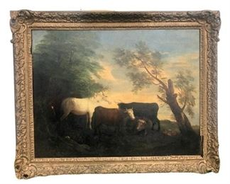 19th C Oil on Canvas Pastoral Scene