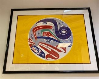 """1996 Robert Davidson original print, #5/65 """"Echos from The Supernatural"""" 30x42 not including frame. Purchased directly from Vancouver, BC in 1996 with full details and receipt. Excellent condition."""