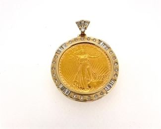 $20 gold coin in 14k gold pendant with 2.00 ct round and baguette diamonds
