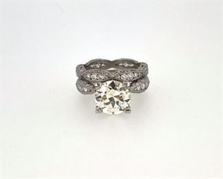 3.11 European cut diamond, VS in Plat Tacori mounting. 4.86 ct TW