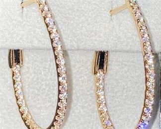 1.28 Carat Diamond Hoops