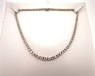 15.17 ct, European cut diamonds in 14k white gold necklace