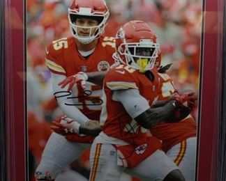 Mahomes and Hill Autographed Photo 16x20 Framed