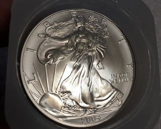 2004 Silver Eagle Uncirculated Mint Cond, sold by the tube. $600 each tube. Buy one or buy all. Will not be included in any discounts throughout the sale. Price firm.