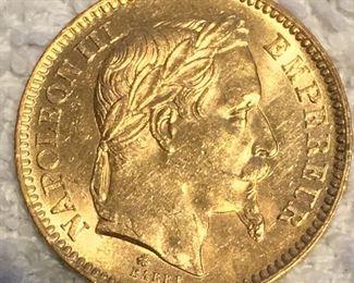 Ca 1865 Napoleon III gold coins.