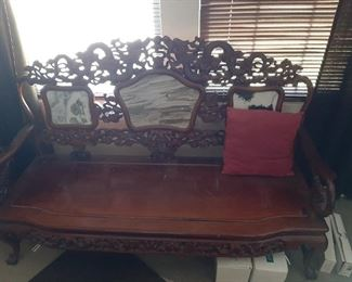 Asian carved furniture  500 3 pc set