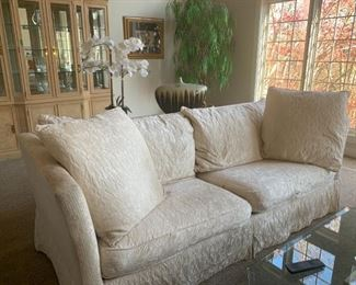 """# 20FREE     Heritage comfy couch. Fair condition with tearing on the front of cushions. Needs cleaning from dog use. Perfect for a kids or pet play area.  90""""W x 31""""H x 39""""D"""