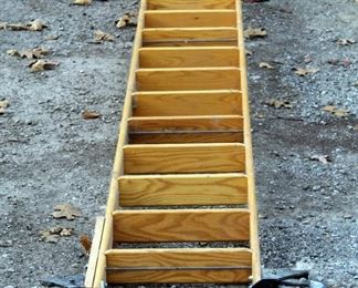 Cotterman Company Solid Oak 10.5ft Rolling Library Track Ladder
