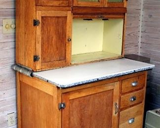 Antique Solid Oak Two Piece Bakers Cabinet With Enamel Ware Slide Out Counter, Frosted Glass Door Panes, Dovetail Construction, & Casters