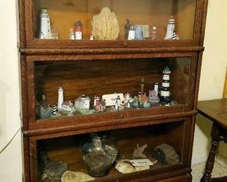 Antique 3 Shelf Barrister Bookcase, 47.5in x 34in x 10.5in