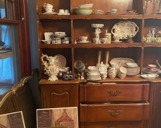 Solid Wood Cherry Wood Primary Woods and Oak Secondary Woods, Cherry China Cabinet or Hutch.  Really Nice.  In Two Pieces for Easy Moving.