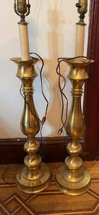 Tall Brass Candle Stick Lamps,