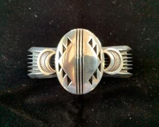 $245 (now $185) Heavy vintage Mary Taylor (Navajo) Sterling Cuff, ca 1990