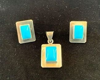 $80 (now $40) Vintage Taxco sterling pendant and earring set