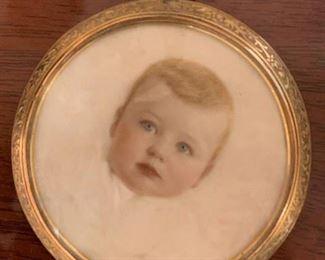 $85 (now $45) Antique watercolor miniature portrait