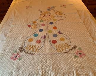 "$80.00............Sweet Hand Embroidered Baby Quilt Clown  40"" x 56 1/2"" (459)"