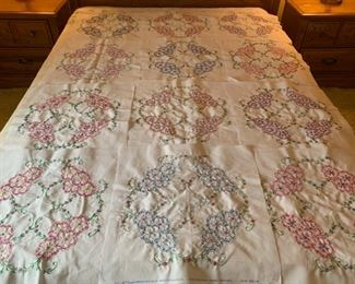 REDUCED!  $187.50 NOW, WAS $250.00..............Incredible embroidered quilt blocks, 12 blocks finished ready to be pieced together! Impeccable Stitching (P447)