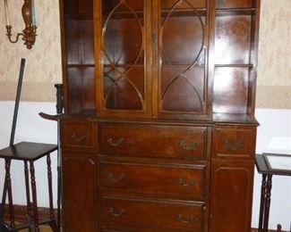 Another vintage small mahogany china cabinet/secretary