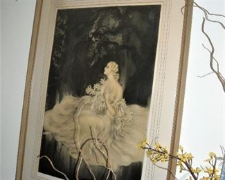 "Original color etching signed and stamped by Louis Icart.  ""Les Lillies""  Lady of the Lillies.  Large with original frame."