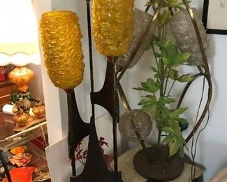 Two Lucite Spaghetti Globe Lamps