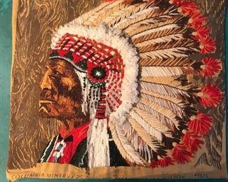 Erica Wilson handmade  Needlepoint Indian Art 1970