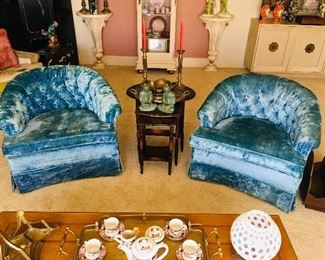Pr. Blue Club Chairs, seat foam has hardened. $200, Nesting Tables SOLD, Pr. Asian FIgurines SOLD