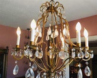 Large Vintage Gold Metal Chandelier with Prisms, Dining Room, $400