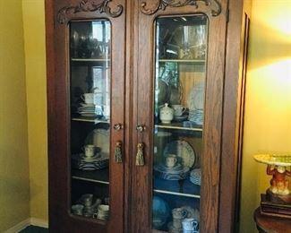 Beautiful antique oak curio cabinet, $650, SOLd